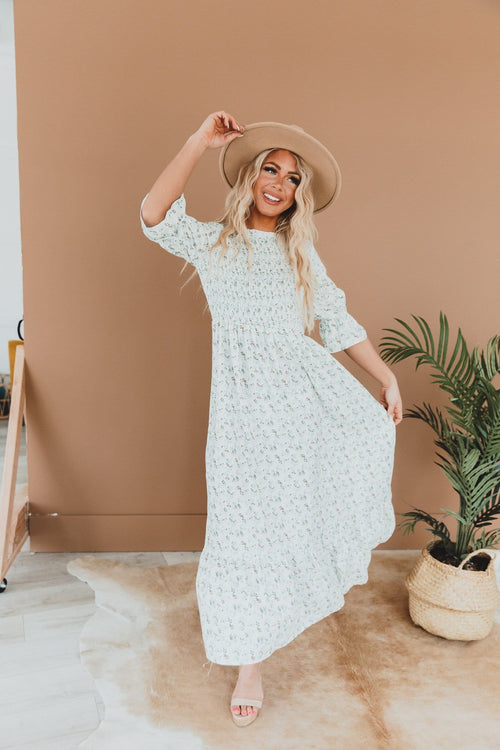 The Sloan Floral Smocked Dress in Ivory