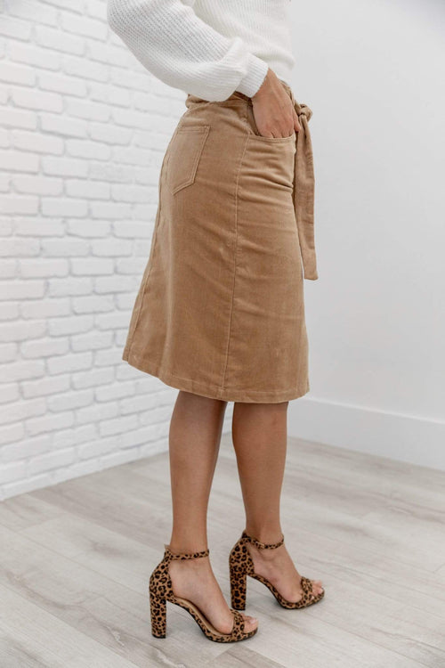 The Sophie Corduroy Skirt in Camel