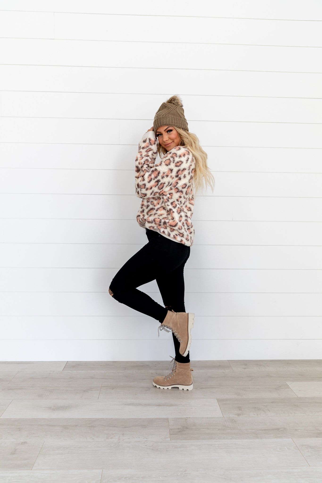 The Stanton Sherpa Top in Animal Print