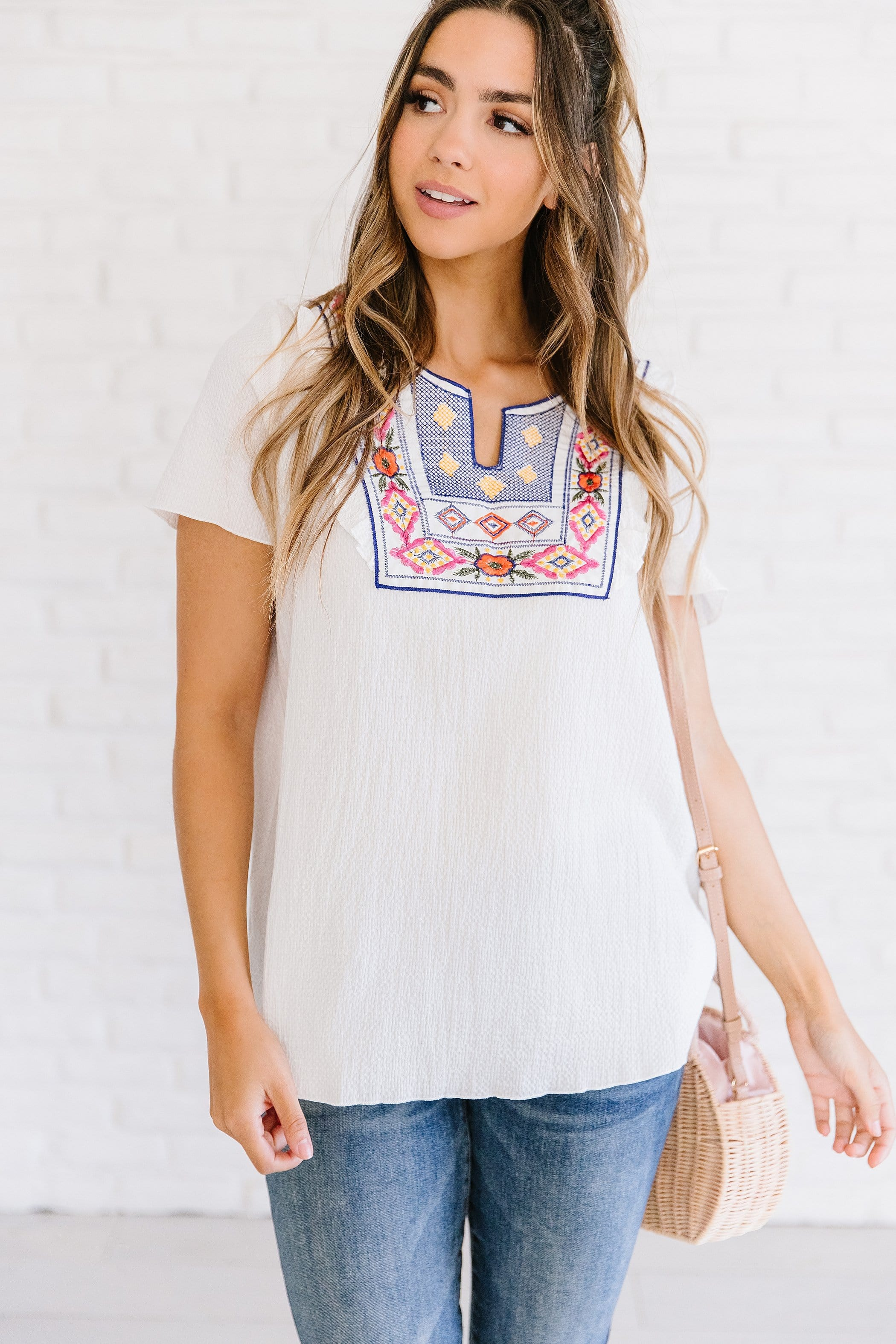 The Sunrise Boho Embroidered Top in White