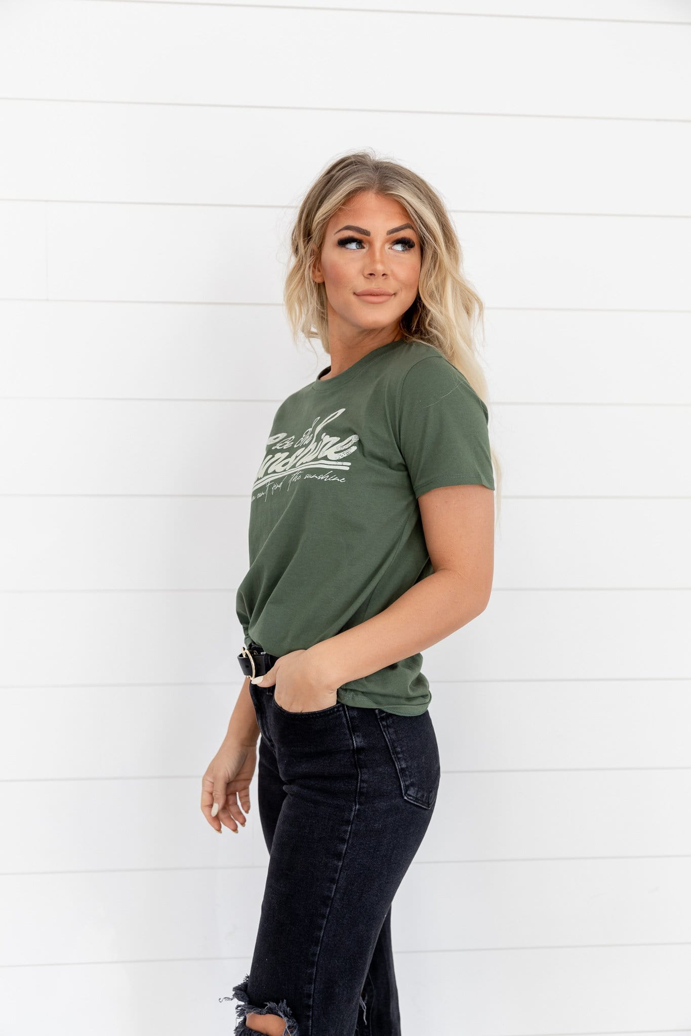The Sunshine Graphic Top in Olive