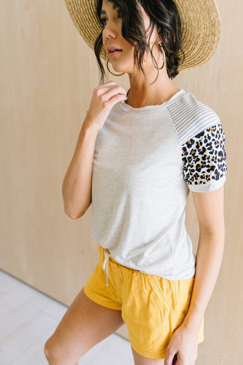 The Tae Color Block Top in Animal Print