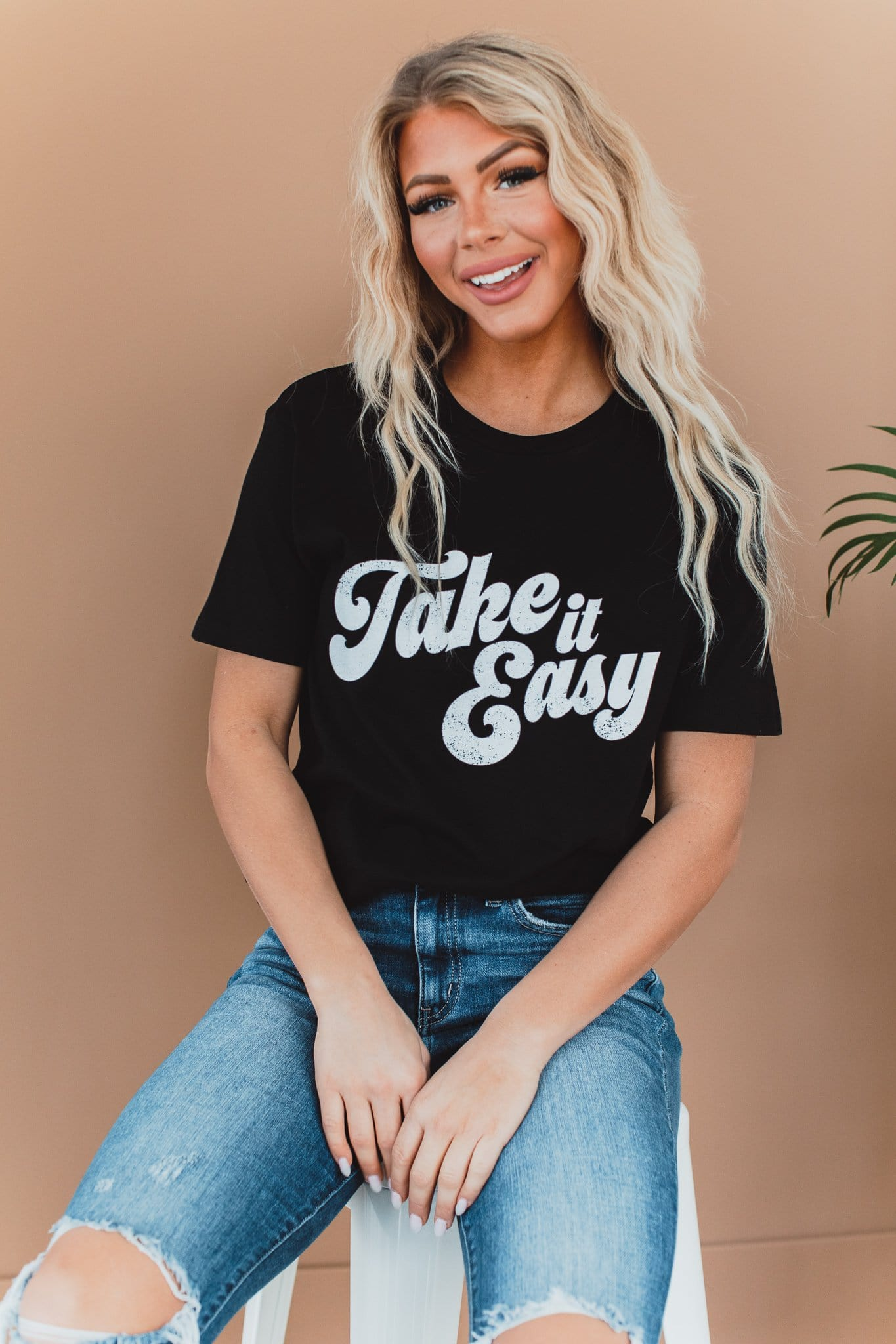 The Take It Easy Graphic Top in Black