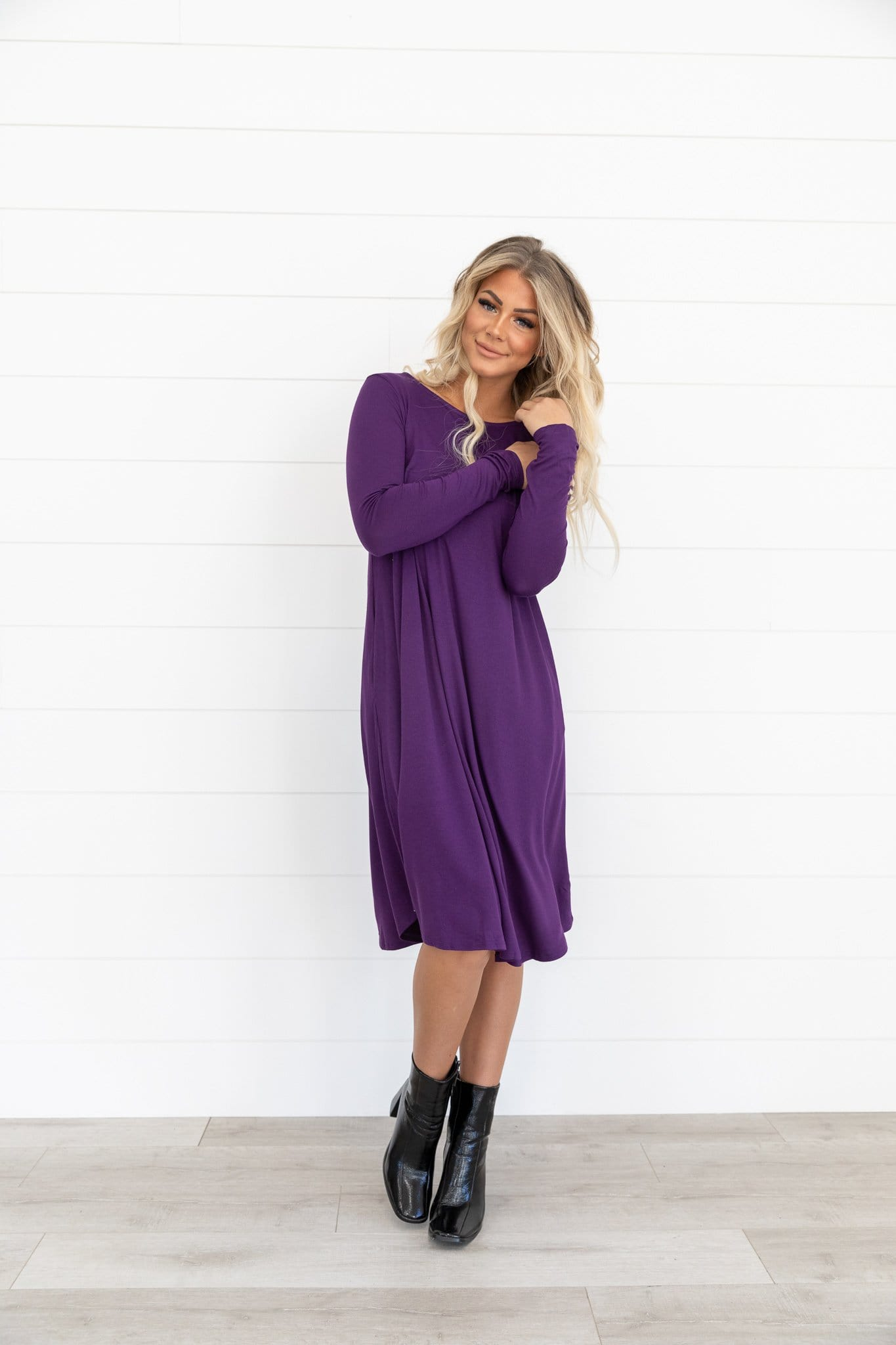 The Tanna Swing Dress in Boysenberry and Dark Purple