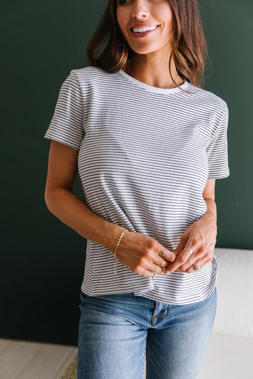 The Taylor Striped Top in Black and White