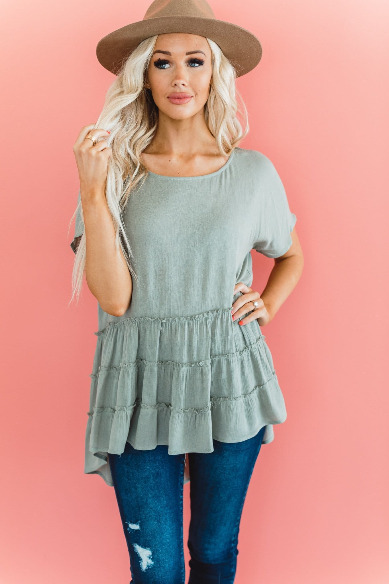The Thacker Ruffled Top in Sage