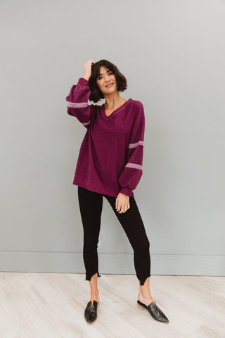 The Roselle Puff Sleeve Top in Burgundy