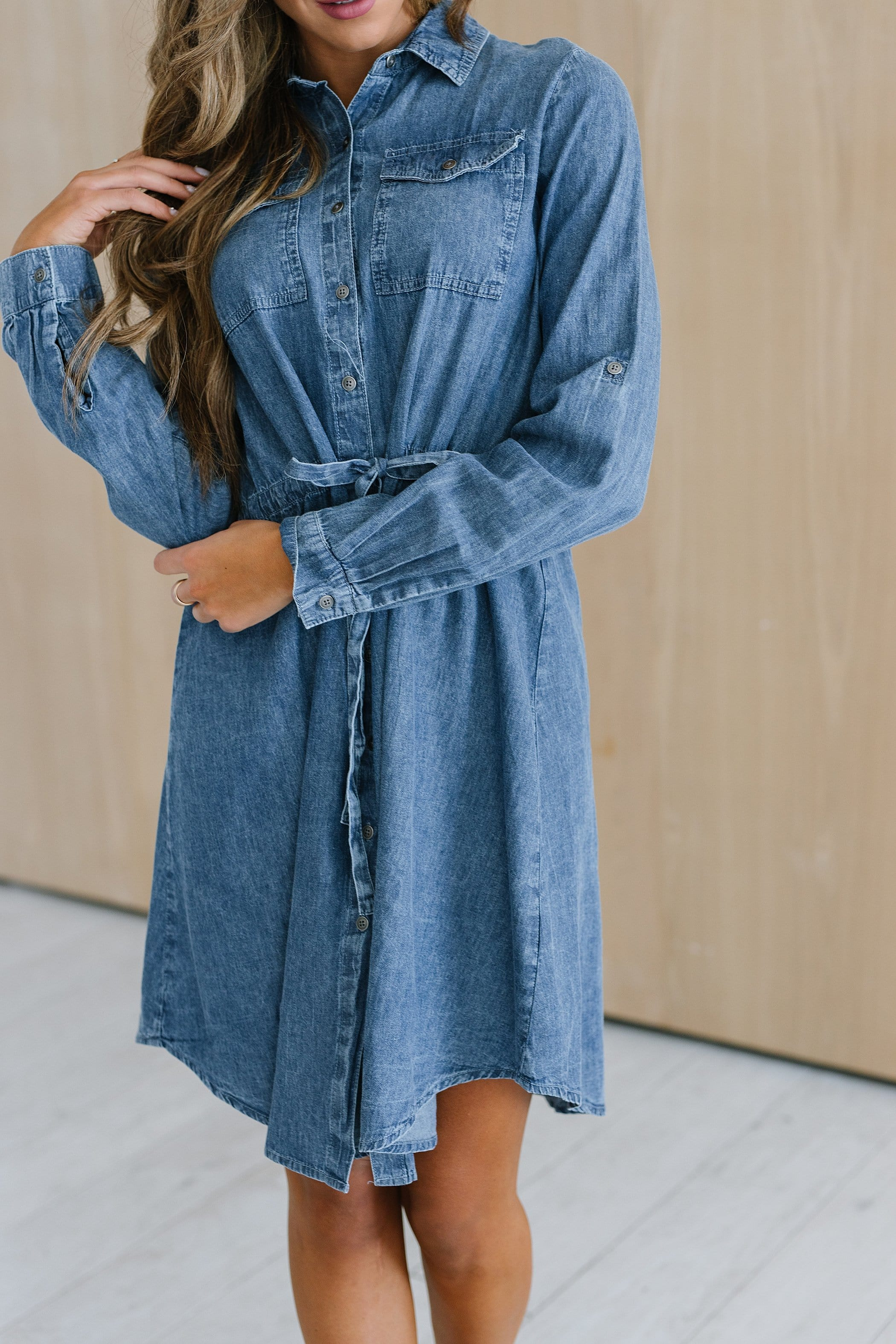 The Tripp Chambray Dress in Medium Wash