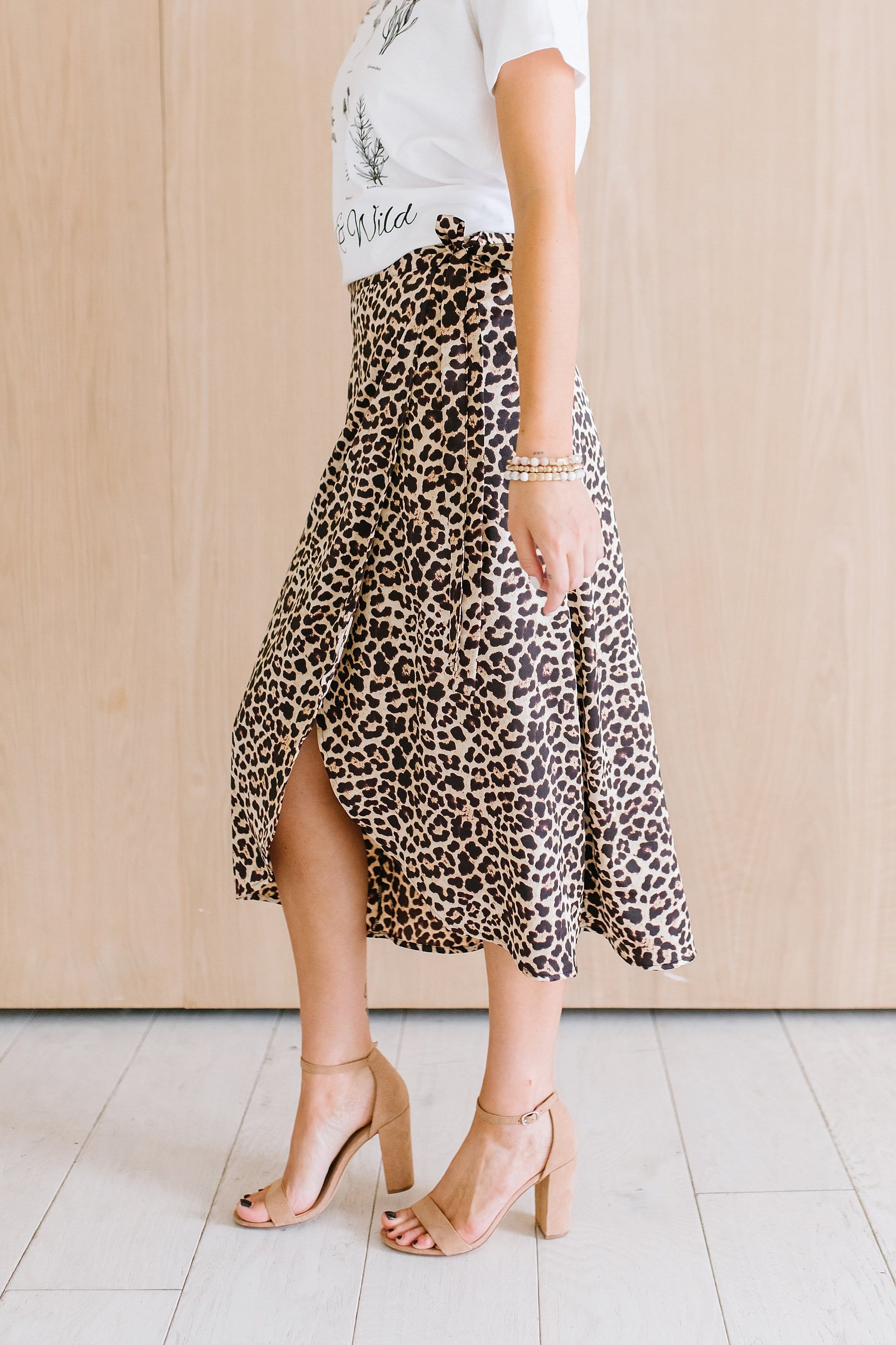 The Vivi Satin Wrap Skirt in Animal Print