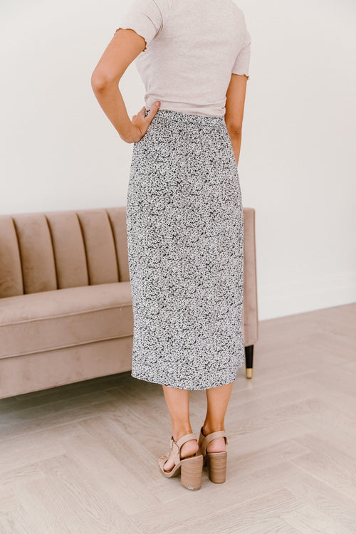 The Hale Park Floral Skirt in Black
