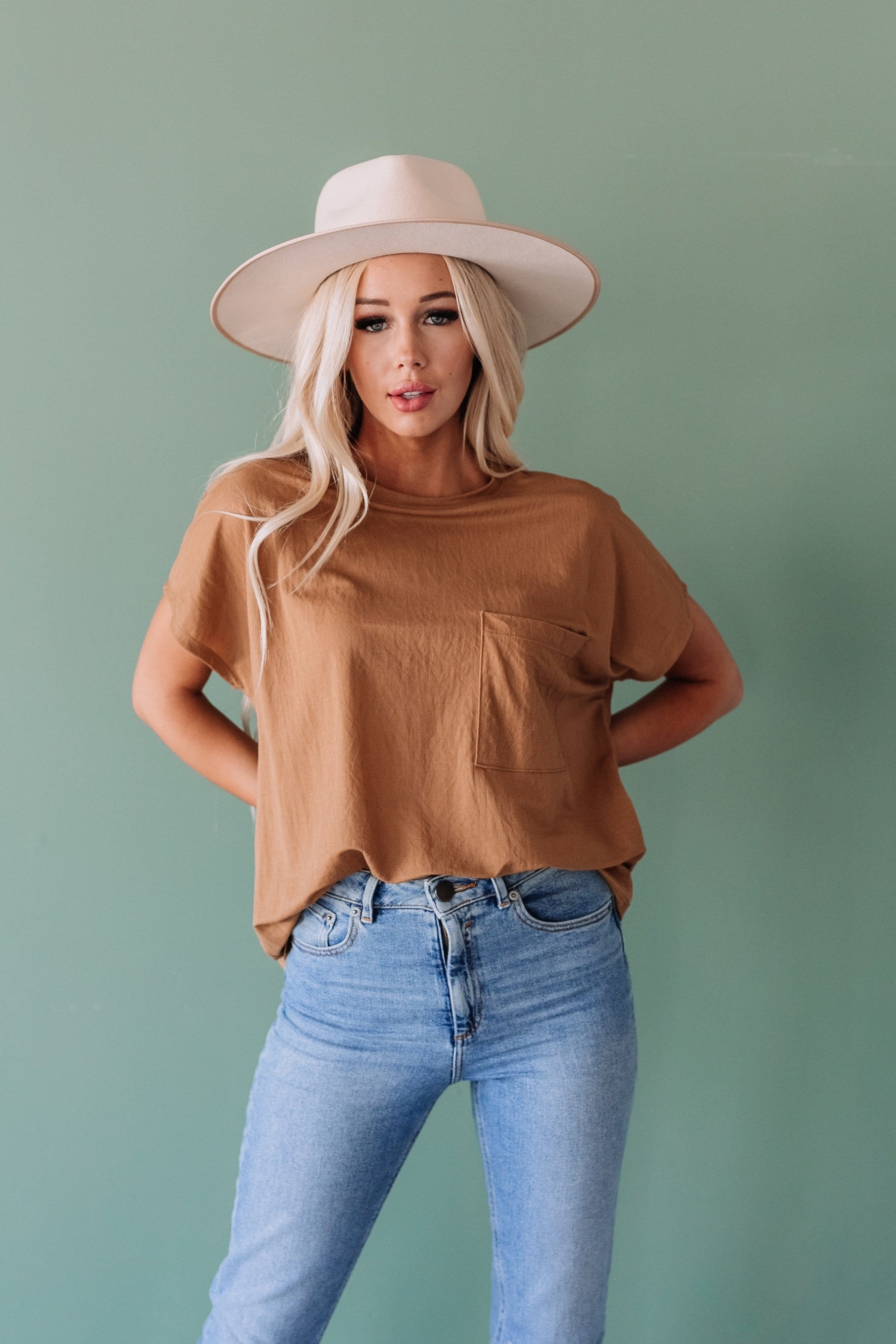 The Atmore Pocket Top in Camel, Denim, Natural, Olive and Toast