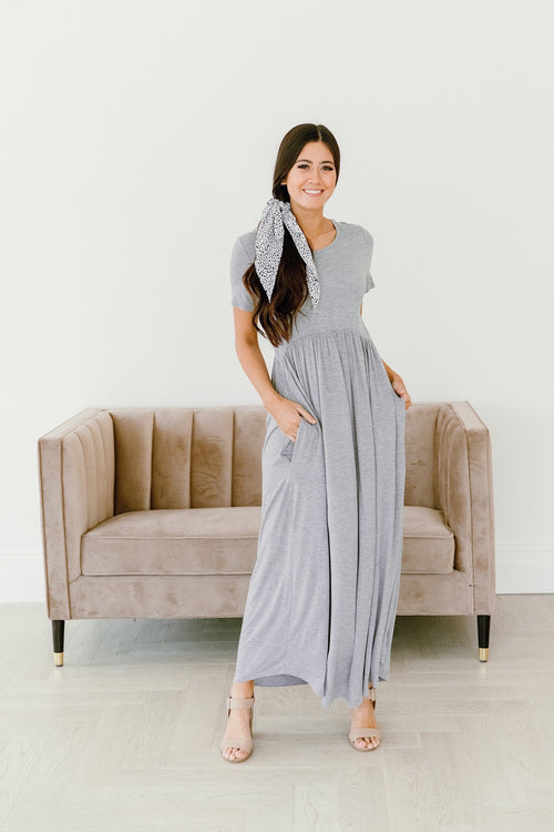 The Ayda Maxi Dress in Heather Grey