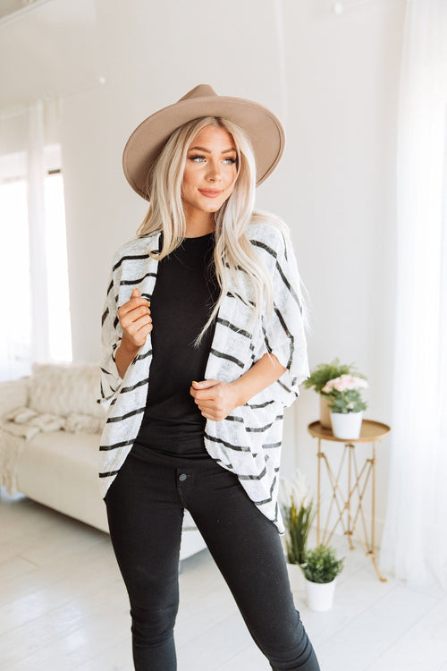 The Brady Striped Cardigan in White