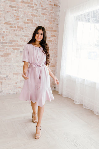 The Sadie Satin Ruffle Dress in Blush