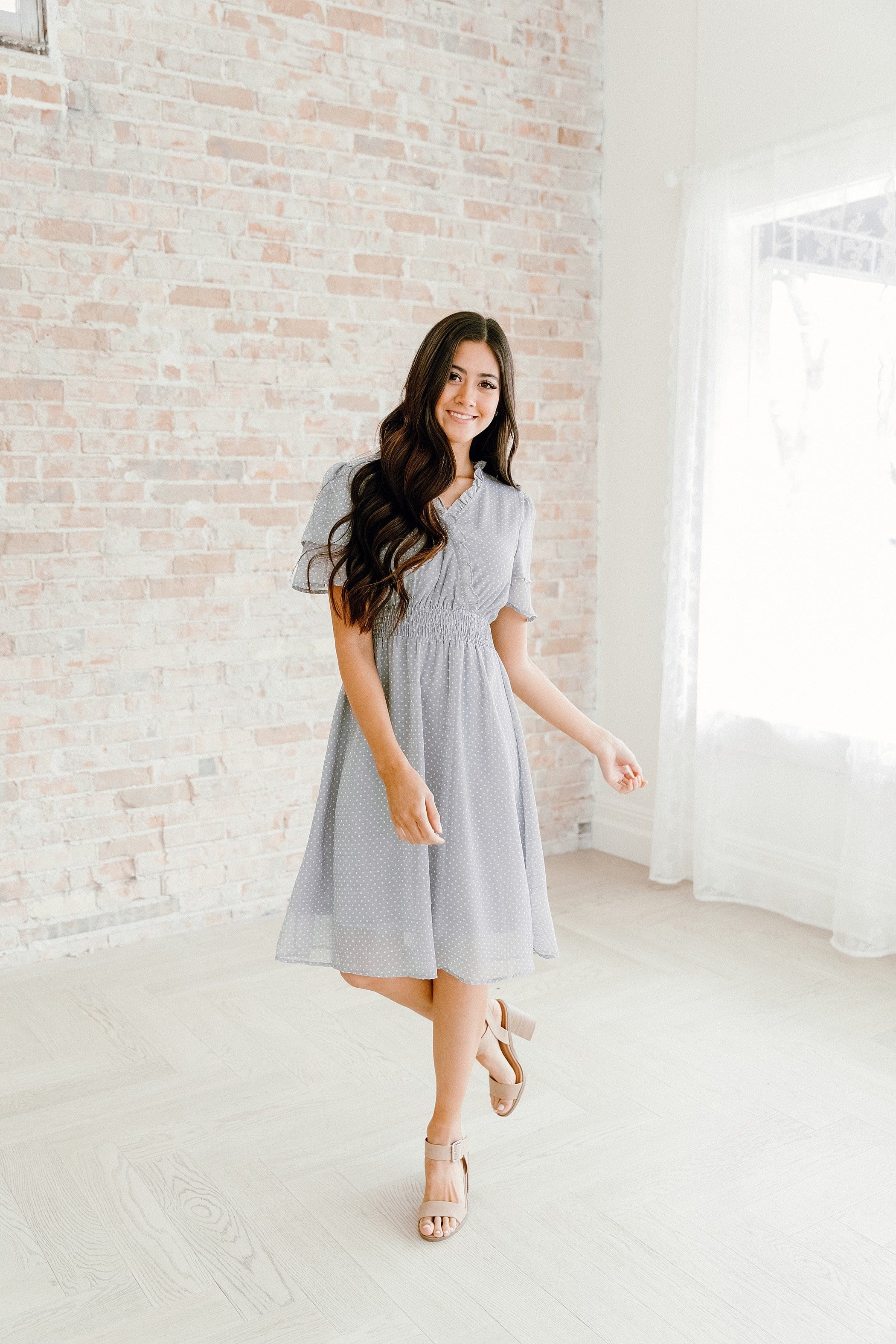 The Maryn Ruffle Dot Dress in Silver