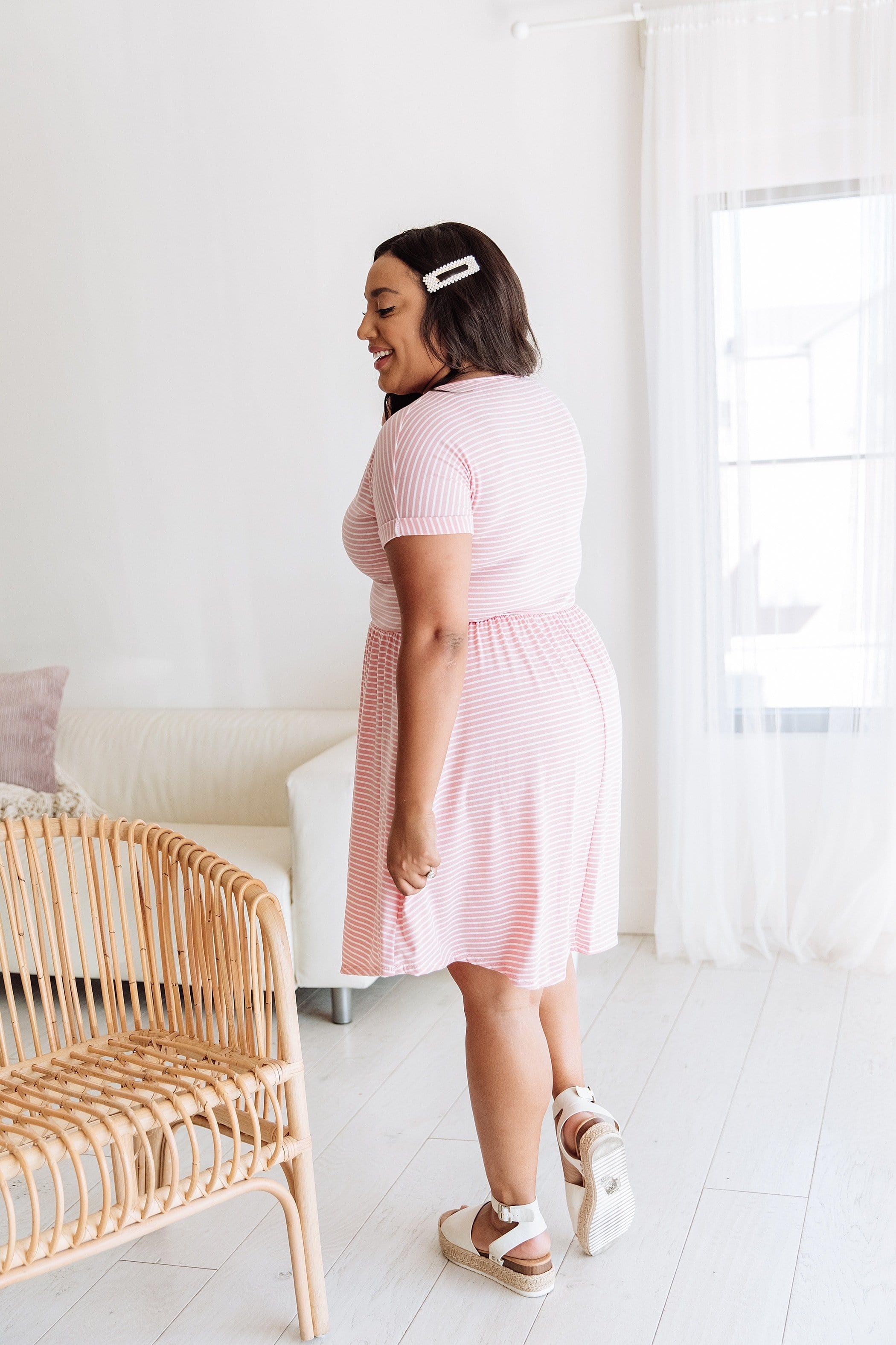 The Harper Striped Dress in Pink