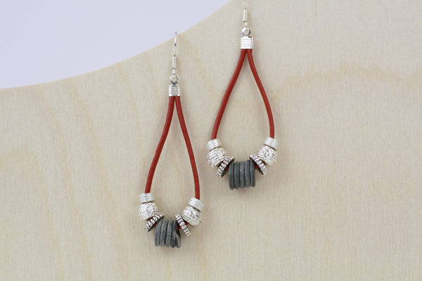 Zimba Teardrop Leather Snare Wire Earrings