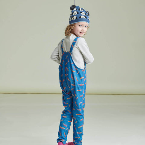 girl wearing blue printed dungarees from the bonnie mob