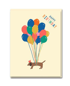 Birthday card with sausage dog and balloons by 1973