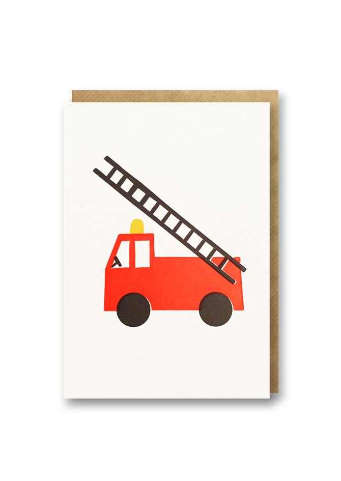 Mini letterpress card with fire engine design by 1973