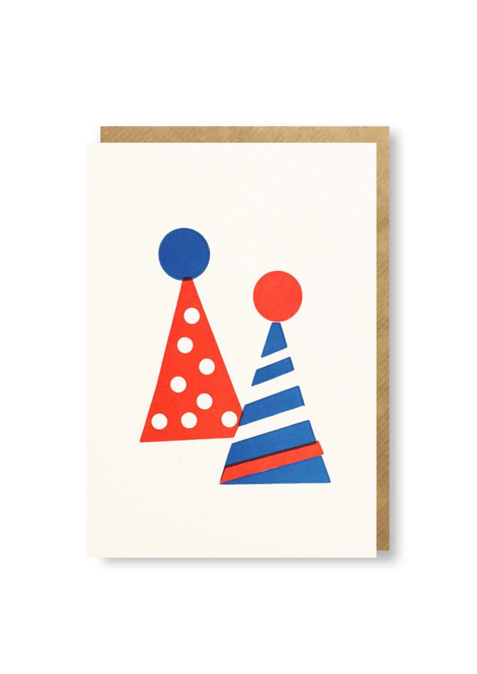 Mini letterpress card with party hat design by 1973