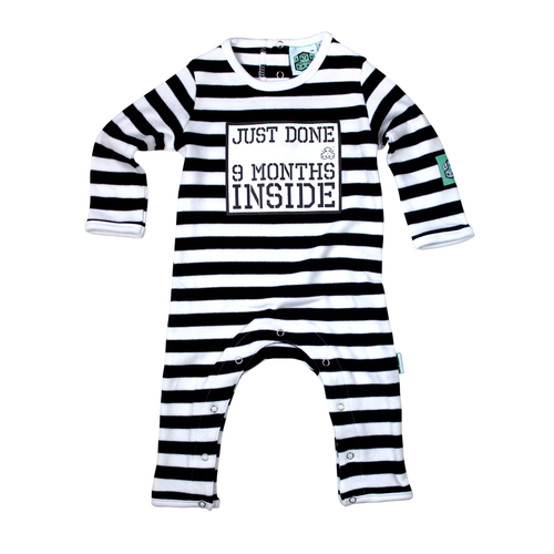 Lazy Baby black & white striped babygrow with just done 9 months inside slogan