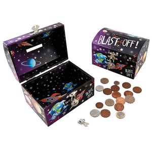 Floss & Rock rocket money box with silver lock