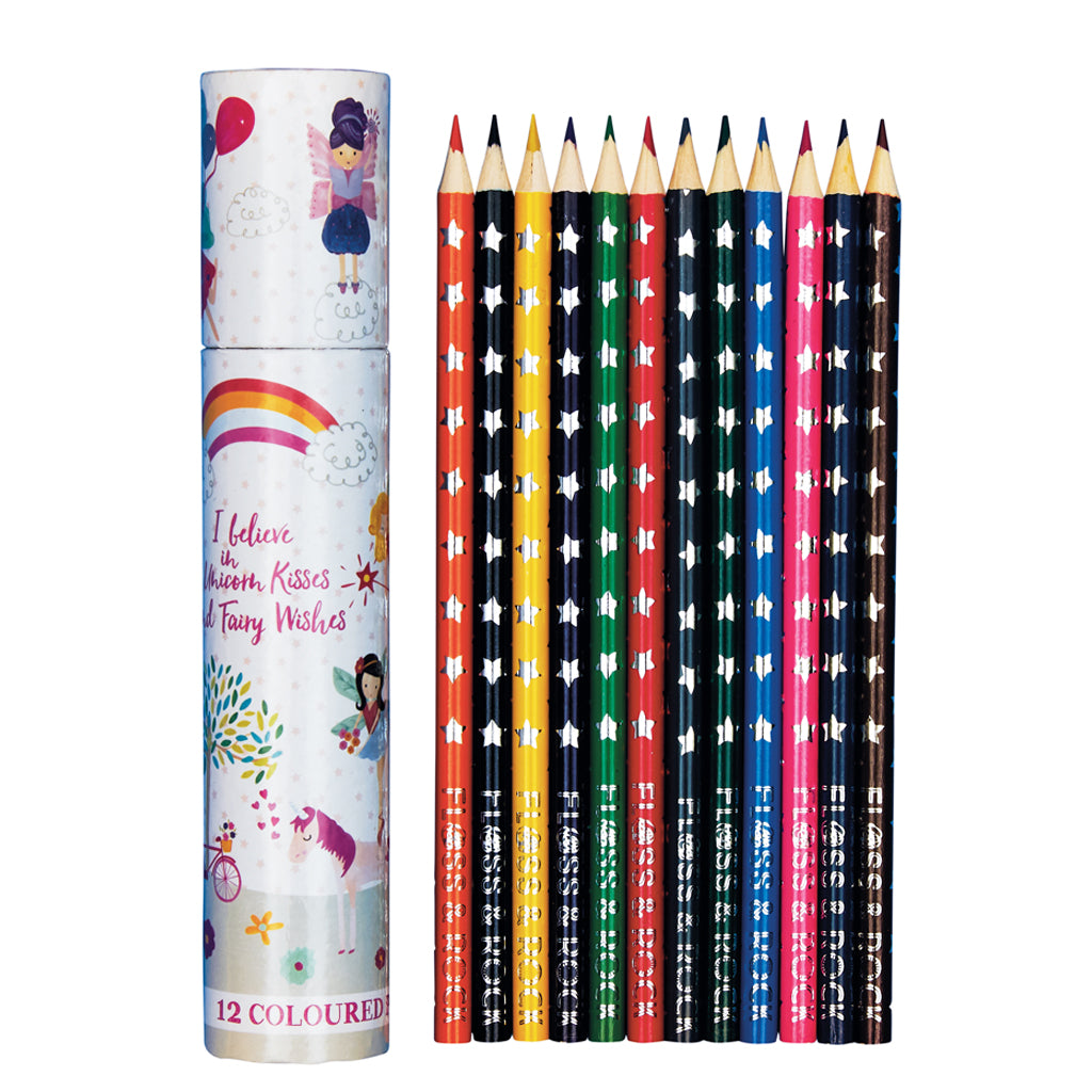 Floss & Rock tube of 12 coloured pencils in fairy unicorn design