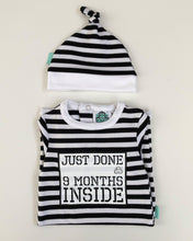 Load image into Gallery viewer, Just Done 9 Months Inside Babygrow and matching hat