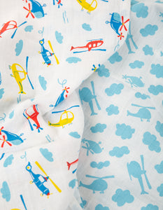 Frugi lovely muslins in a pack of two with helicopter print. Made from 100% organic cotton.