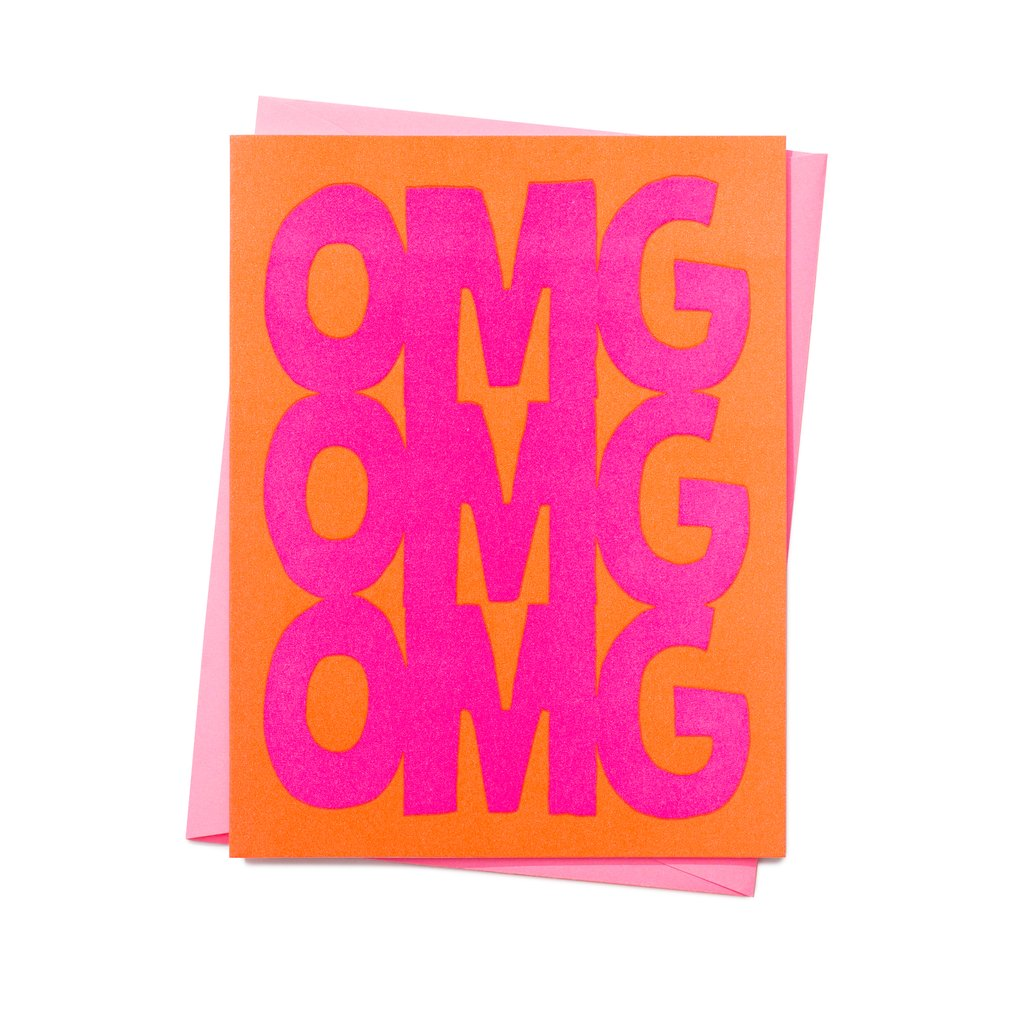 OMG letterpress card by 1973 in orange and hot pink