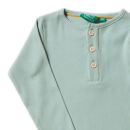 Little Green Radicals Alpine Green Rib Long Sleeve Tee in 100% Organic Cotton