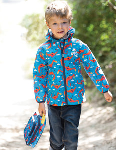 frugi dragon print rain jacket and lunch bag