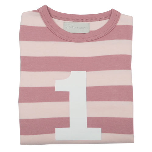 bob & blossom vintage and powder pink  breton striped long sleeved number tee