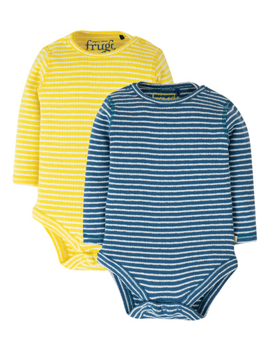 Frugi two pack of organic cotton long sleeved body suits in yellow / white stripe and blue / white stripe