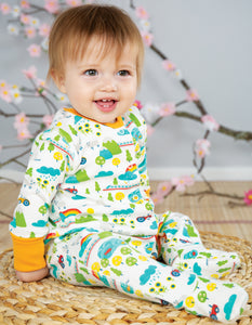 Frugi lovely babygrow in Land of The Rising Sun print. Made in 100% organic cotton