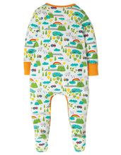 Load image into Gallery viewer, Frugi lovely babygrow in Land of The Rising Sun print. Made in 100% organic cotton