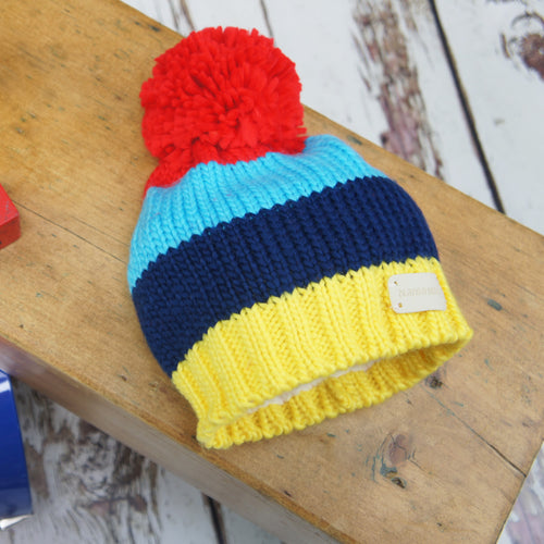 Blade & Rose blue & yellow striped bobble hat with large red pom pom
