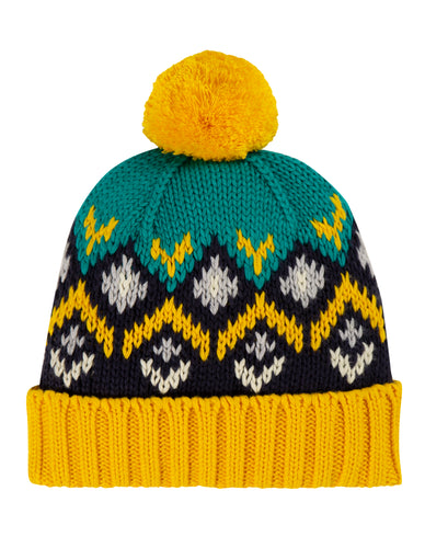 frugi blizzard bobble hat in bumble bee fairisle
