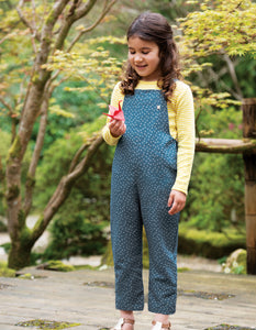Frugi Lexi linen dungarees in blue with white spot print.