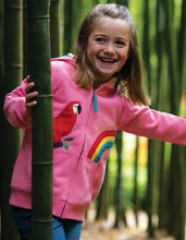 Load image into Gallery viewer, frugi dorothy mid pink hoodie with parrot applique