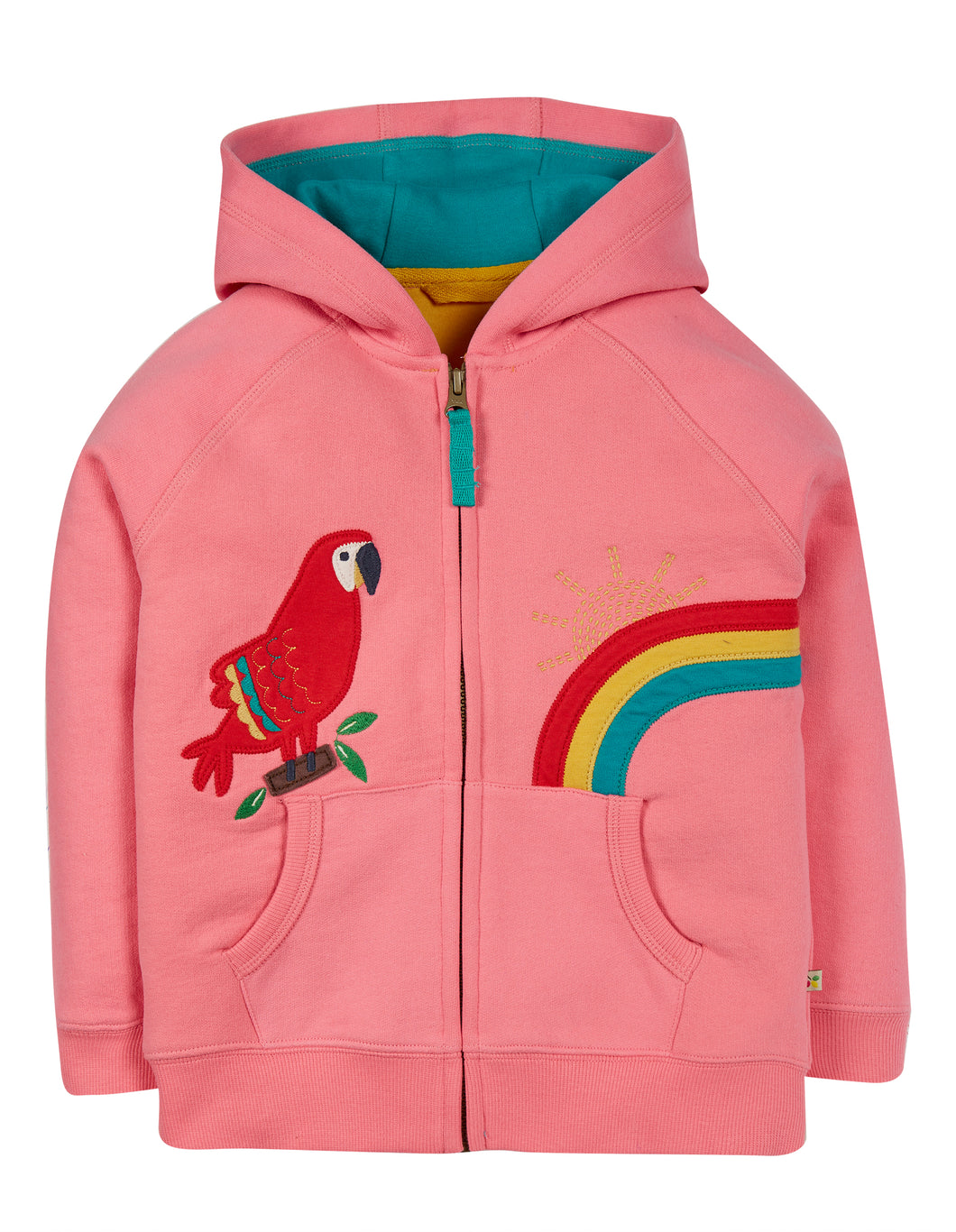 frugi dorothy mid pink hoodie with parrot applique