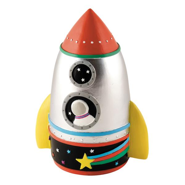 floss and rock rocket shaped money box