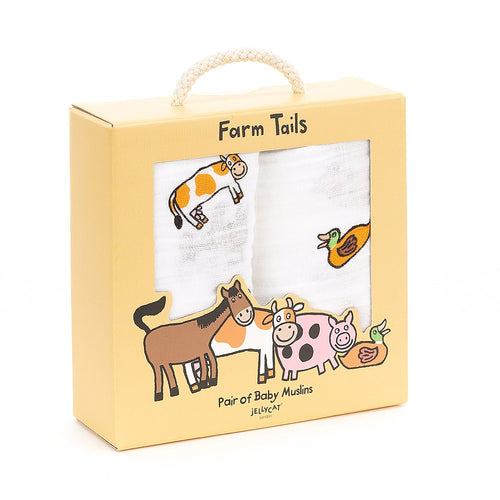 Jellycat Farm Tails Gift Box of Two Printed Muslins