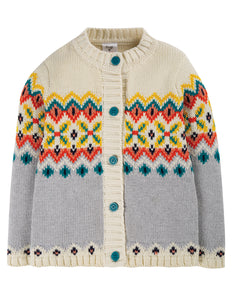 frugi flossie cardi in tin roof fairisle