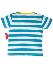 Load image into Gallery viewer, Frugi Blue & White Striped Chicken Applique Tee