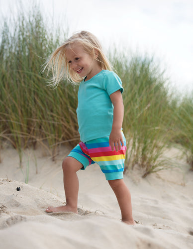 frugi basic t shirt in pacific aqua