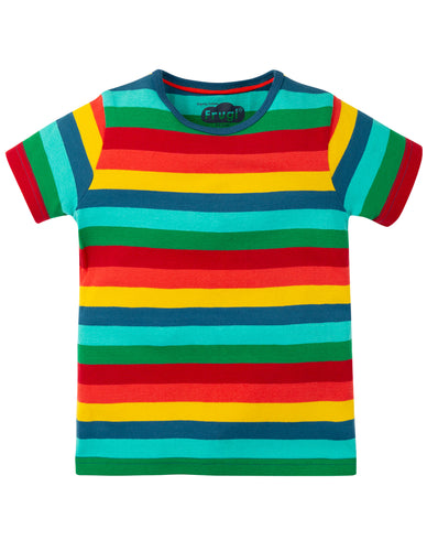 frugi rainbow stripe short sleeved tee