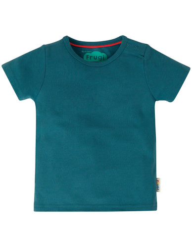 frugi basic t shirt in steely blue