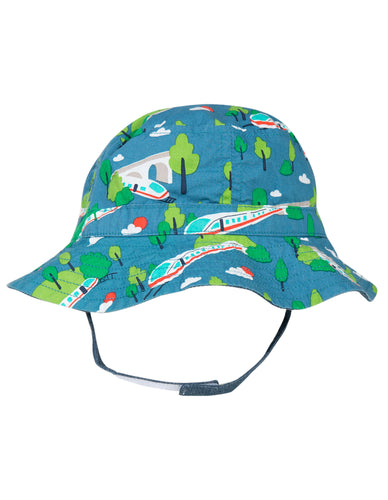 Frugi Train Print Reversible Sun Hat